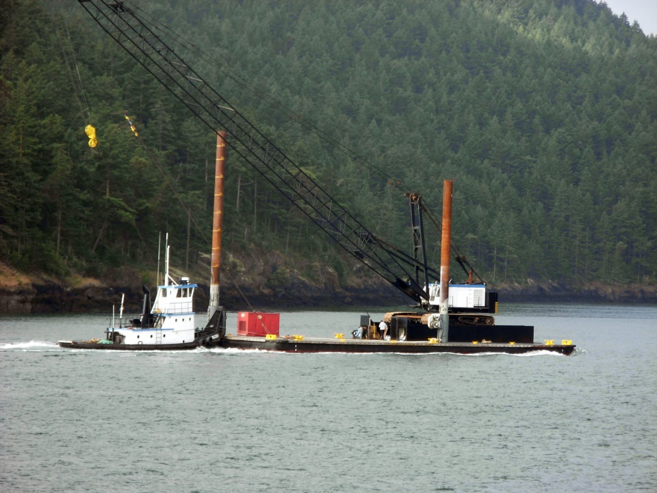 QUILCEDA and YPD barge in Burrows Pass